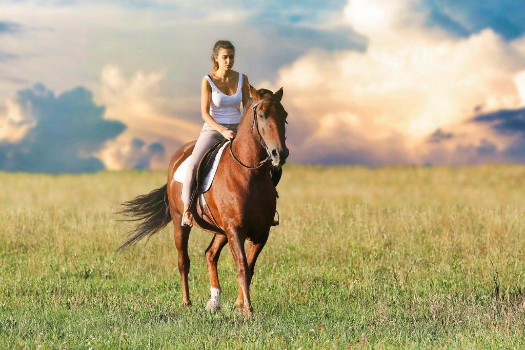 woman, riding, horse